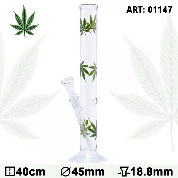 Multi Leaf Glass Bong - H:40cm - Ø:45mm - Socket:18.8mm