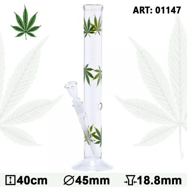 Multi Leaf Glass Bong - H:40cm - Ø:45mm - Socket:14.5mm