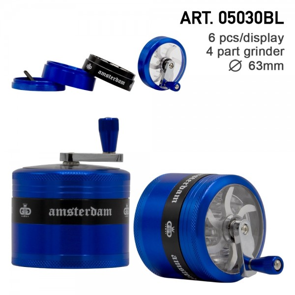 Amsterdam Grinders - 4part - Ø:63mm - crank and window- BLUE-6pcs/box