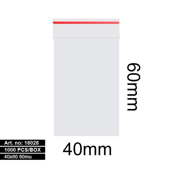 Plastic bags - 1000stk 40x60mm 60mu RED