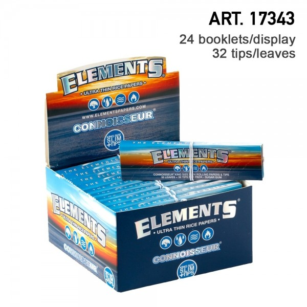 Elements | King Size Slim Rolling Papers + tips 32 booklets in one box