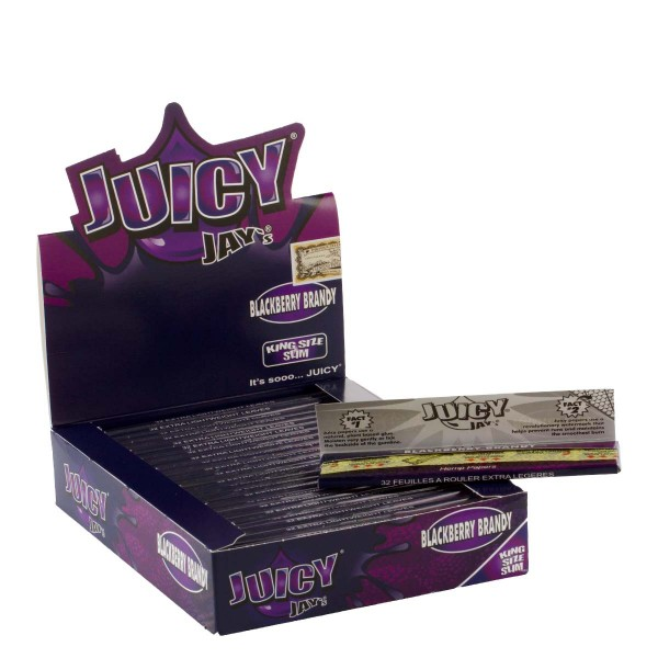 Juicy Jay's | Blackberry Brandy flavored King Size Slim rolling papers - 24pcs in a display
