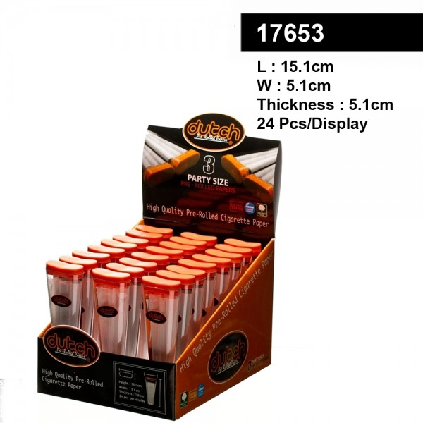 Dutch   Pre Rolled Cones- Height 15,1cm- Width: 5,1cm- Thickness 1,9cm- 24pcs / display