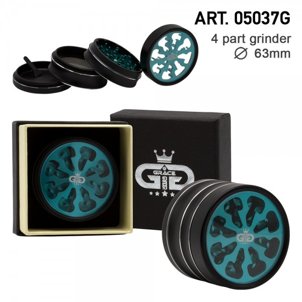 Grace Glass | Tornado Series Green - 63mm 4-part Grinder with window - Single piece in a luxury box