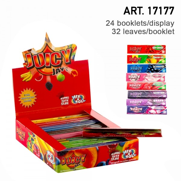 Juicy Jay's | Mix Flavored King Size Slim rolling papers - 24pcs in a display