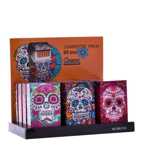 Champ | Skull cigarette cases for 20pcs cigarettes in different colors and there are 12pcs in a disp