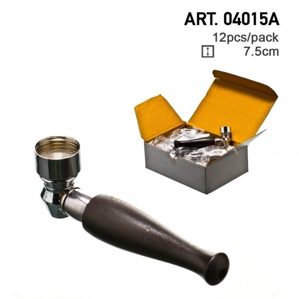 Amsterdam | Metal/wood Pipe - 7,5cm - 12pcs/box