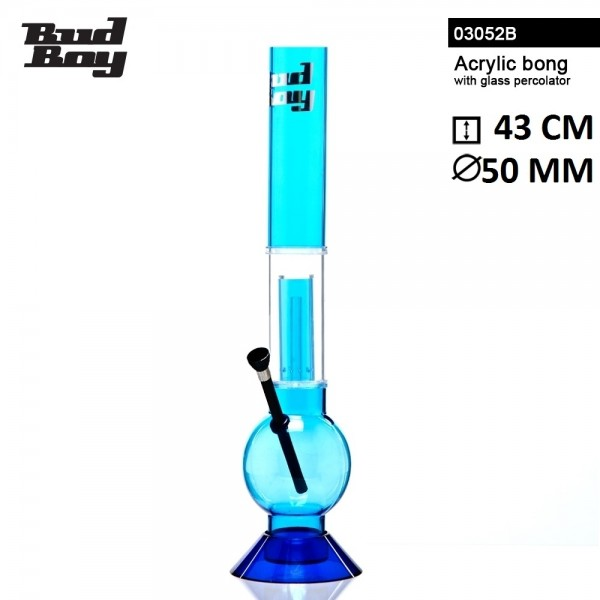 Bud Boy | Bouncer Bong- Blue- H:43cm- Ø:50mm- WT:3mm (circa)- Glass