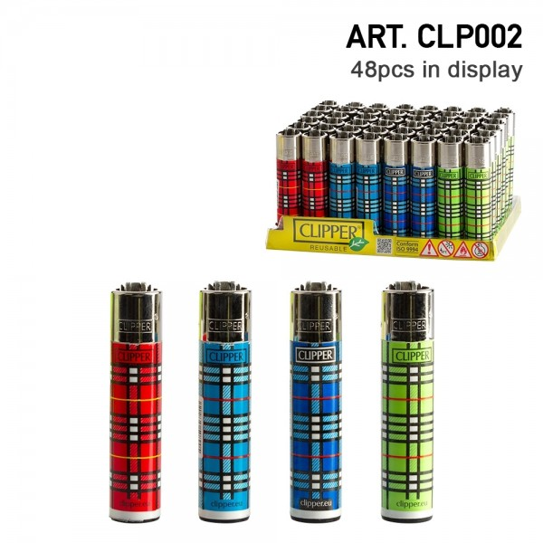 Clipper | Table Print refillable lighters with 4 different designs - 48pcs in display