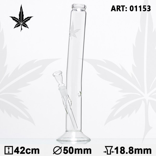 Sand Leaf Hangover Glass Bong - H:42cm - Ø:50mm - Socket:18.8mm - 17pcs in master carton