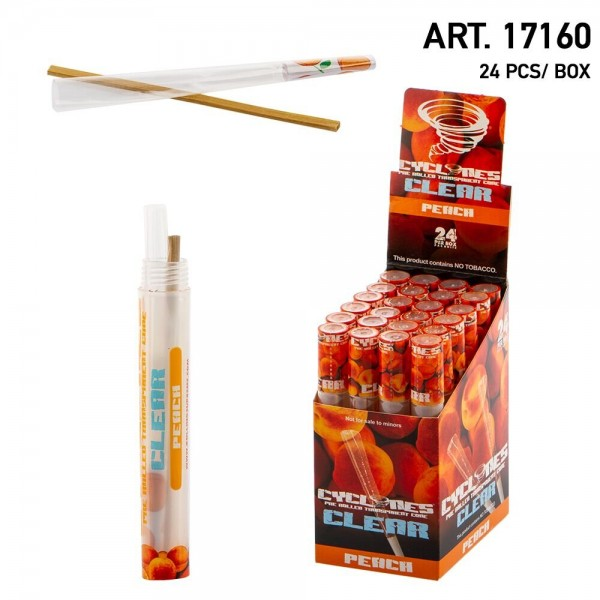 Cyclone Clear Pre-Rolled Cones- Peach Flavour (24pcs/Box)