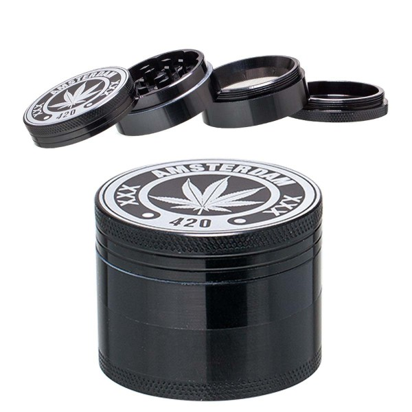 Amsterdam | Mix Herbal Grinder- Ø: 50mm- 4part- Black- 12pcs/display