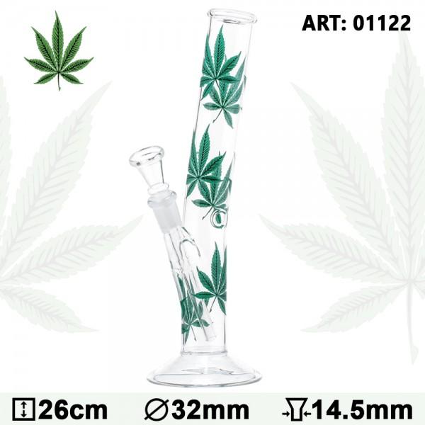 Multi Leaf Hangover Glass Bong-H:26cm-Ø:32mm-Socket:14.5mm