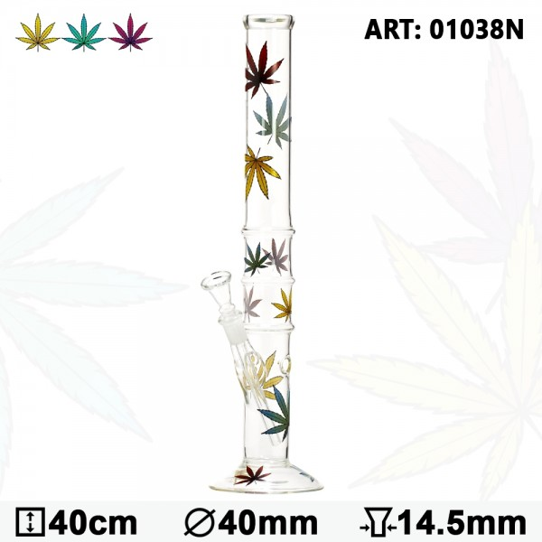 Multi Leaf Glass Bong - H:40cm- Ø:40mm- Socket:14.5mm
