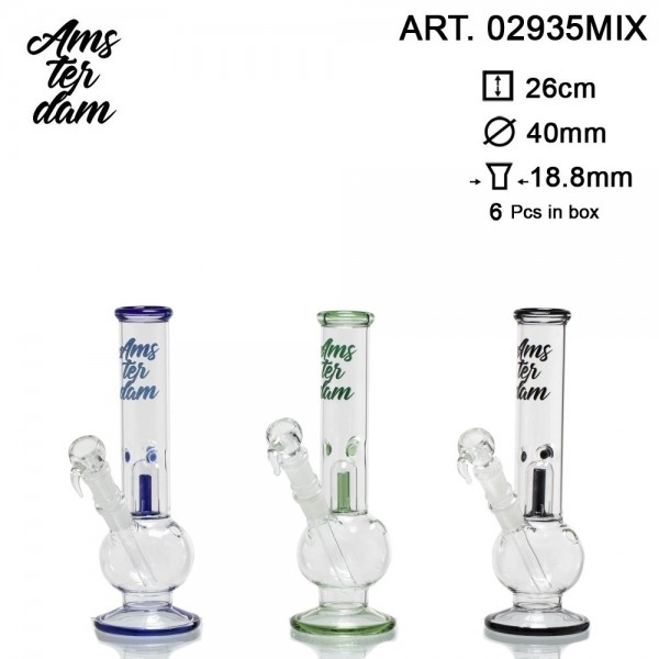 Amsterdam Glass Bong- H:26cm- Ø:40mm SG:18.8mm 6pcs in box