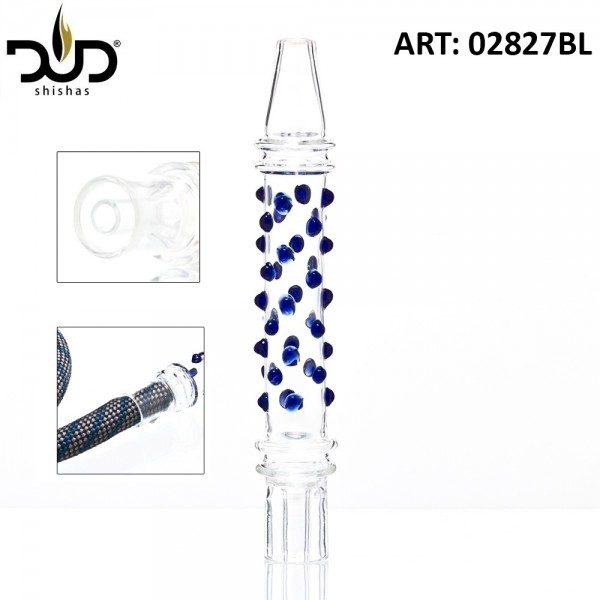 Hookah Mouthpiece with blue glass beads- Ø:30mm- L:21cm