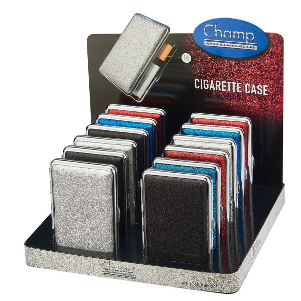 Champ | Glitter cigarette cases for 14pcs cigarettes in different colors and there are 12pcs in a di