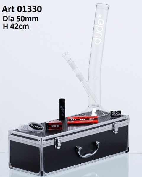 Dude Glass Bong in Aluminum Box- H:42cm- Ø:50mm