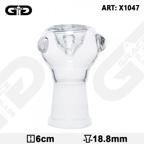 Grace Glass | Herbs Bowl For Oil Bong And Bubblers 6cm Height - Female Joint 18.8mm - CLEAR