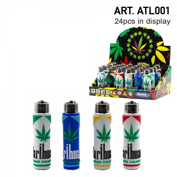 Atomic | Funda Mix refillable lighters with mixed sleeve designs - 24pcs in display