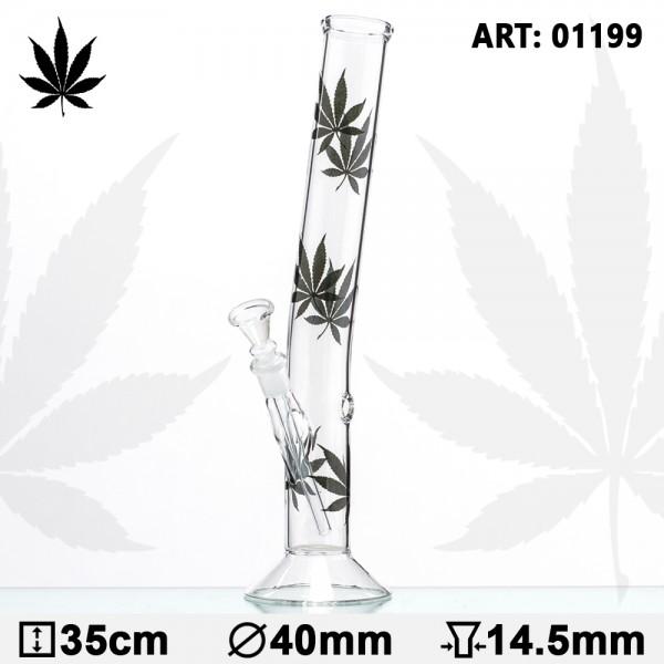 Leaf | Multi Leaf Hangover Glass Bong-H:35cm-Ø:40mm-Socket:14.5mm