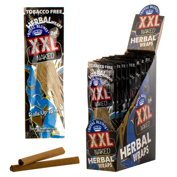 Royal Blunts | Herbal Wraps XXL Naked (Natural) - 25 packs in display - Each display contains 100 wr