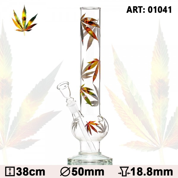 Leaf | Bouncer Multi Leaf Glass Bong - H:38cm - Ø:50mm - Socket:18.8mm