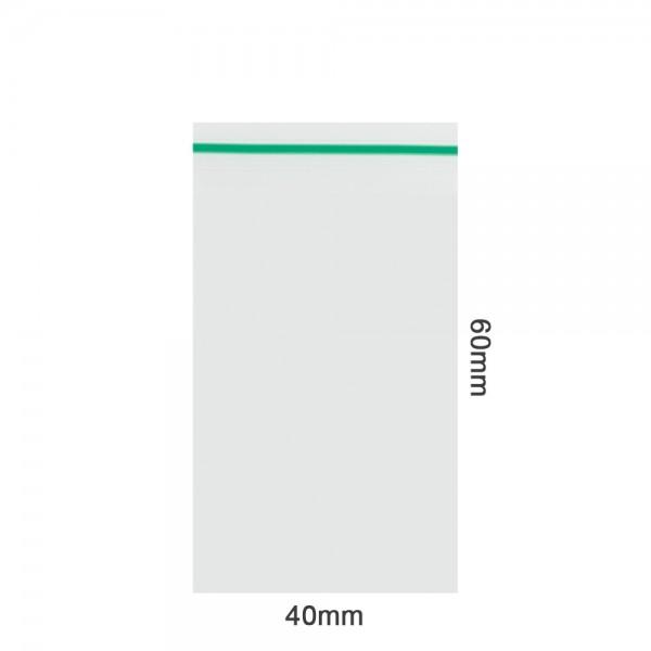Amsterdam | Zipper Bags 40mm x 60mm 70µ (MU) Green 1000pcs in a display