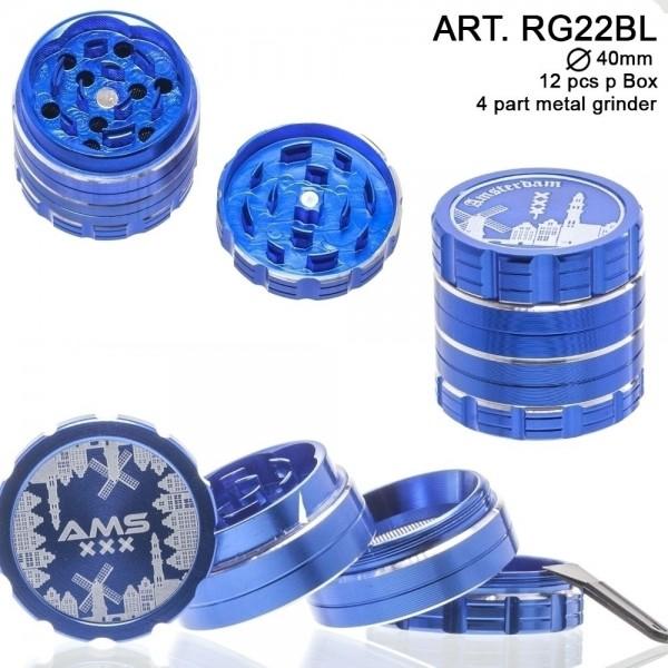 Dope Bros | Amsterdam: 4 Part Metal Grinder (Blue) : Ø 40mm. 12 pcs/box