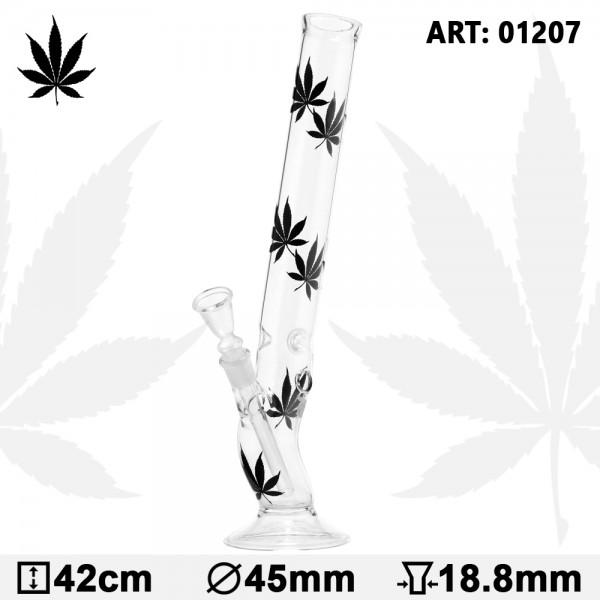 Leaf | Multi Black Leaf Bolt Glass Bong- H:42cm- Ø:45mm- Socket:18.8mm