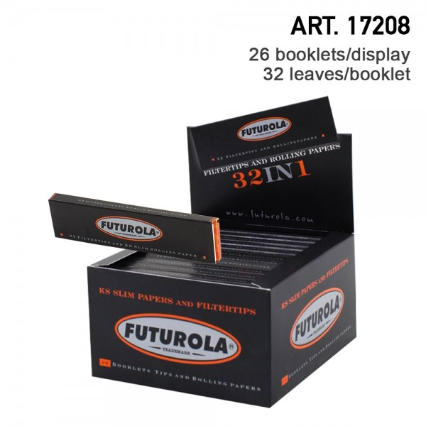 Futurola | KS Slim Rolling Papers 32 leaves per booklet and 26 booklets + tips in a display/box