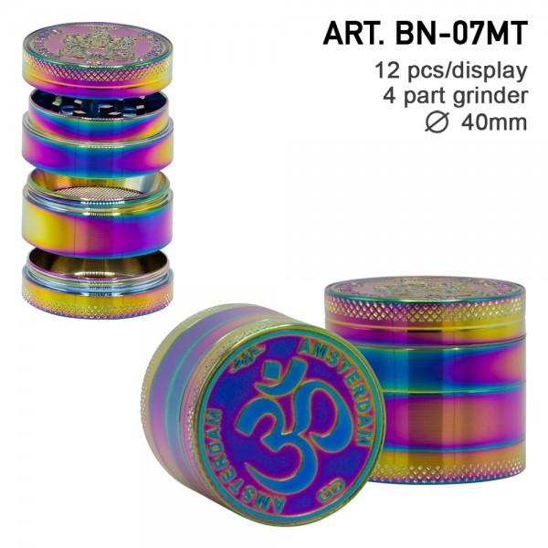 Grace Glass Amsterdam | Rainbow Mix Grinder with Ganash and OM logo 4part- Ø:40mm- 12pcs/box