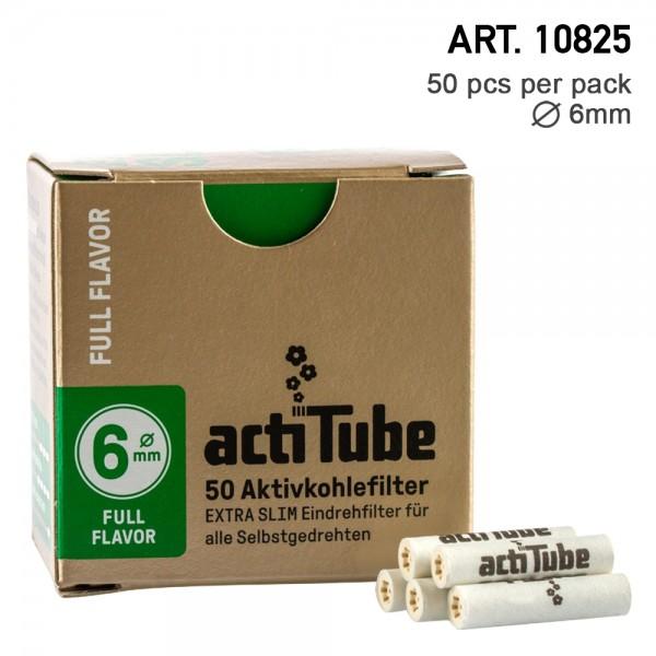 actiTube | Activ Charcoal Slim 6mm Diameter Filters Box 50pcs in box