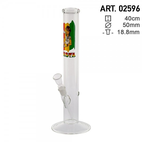 Rasta | Dude Cane Glass Bong- Ø:50mm - H:40cm - Socket:18.8mm