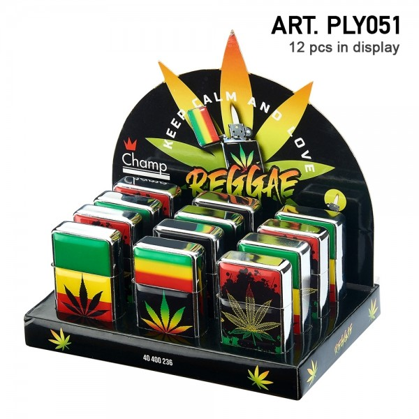 Champ | Zippo with mixed Rasta Leaf logo's there are 12 pcs in a display