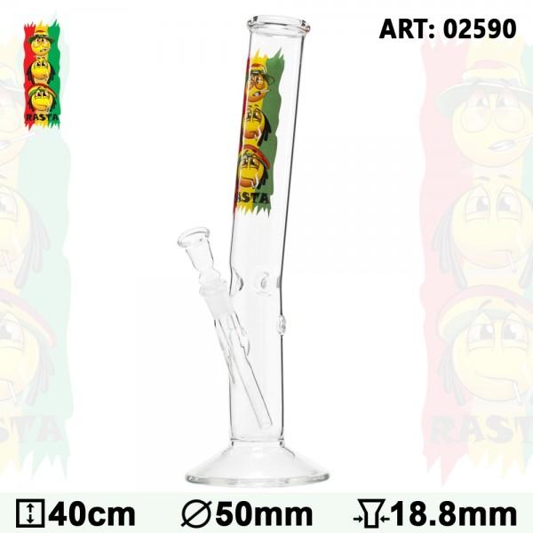 Rasta | Smile Hangover Glass Bong- Ø:50mm- H:40cm- Socket:18.8mm