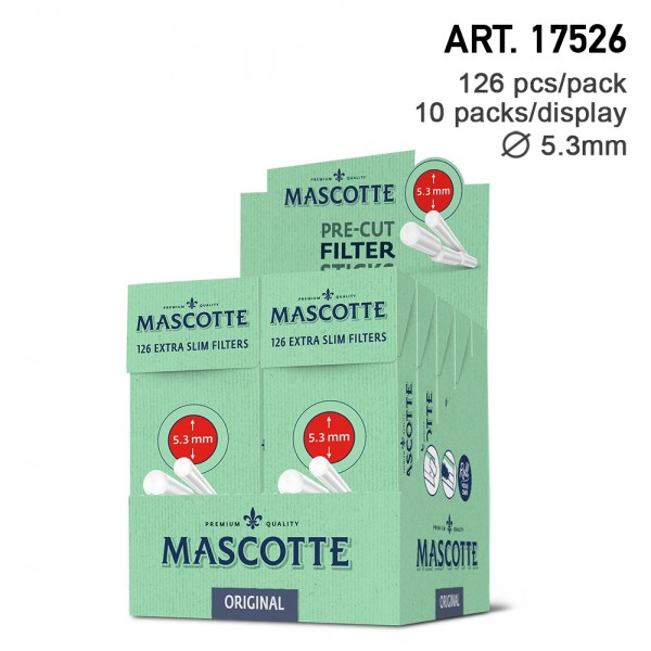 Mascotte | Original Extra Slim Filter Sticks with 5,3mm diameter - 21 pcs filter sticks per box - 12