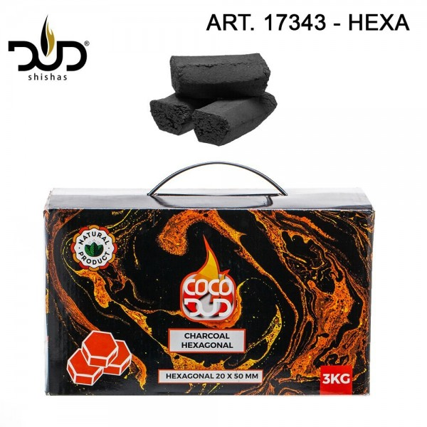 CoCo DUD Hexagon Shape-charcoal- 216pcs/box 3 kg
