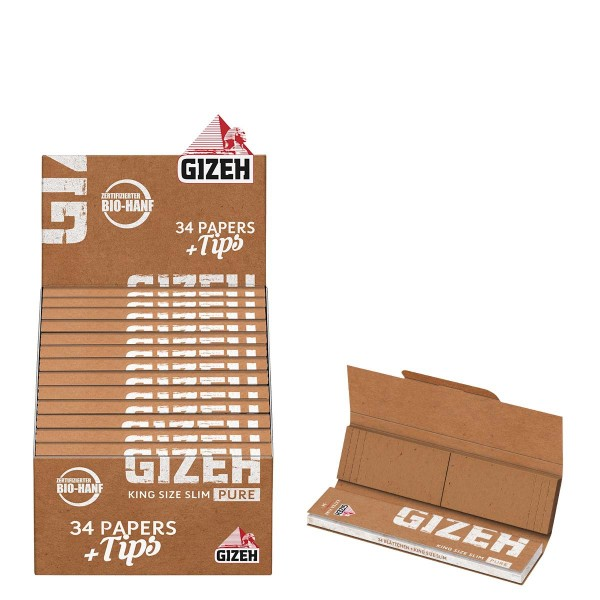 Gizeh |King size Slim Pure + Tips 34 leaves and tips per booklet and 25 booklets in a display - Leng