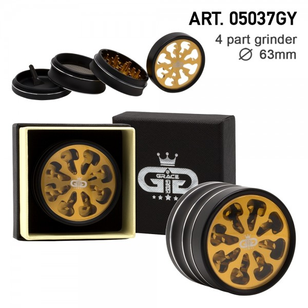 Grace Glass | Tornado Series Golden - 63mm 4-part Grinder with window - Single piece in a luxury box