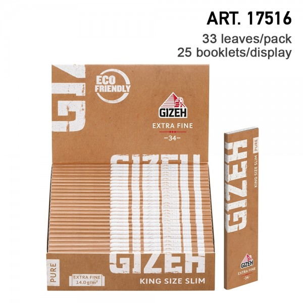 Gizeh   Pure King Size Slim Extra Fine Organic Hemp Long papers 33 leaves per booklet and 25 booklet