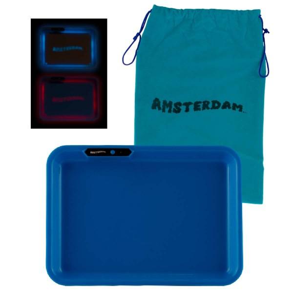 Amsterdam | Acyrlic Multi Colors LED Tray Blue - L:26cm - W:21cm with Amsterdam bag!