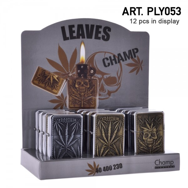 Champ | Zippo with Leaf logo's there are 12 pcs in a display