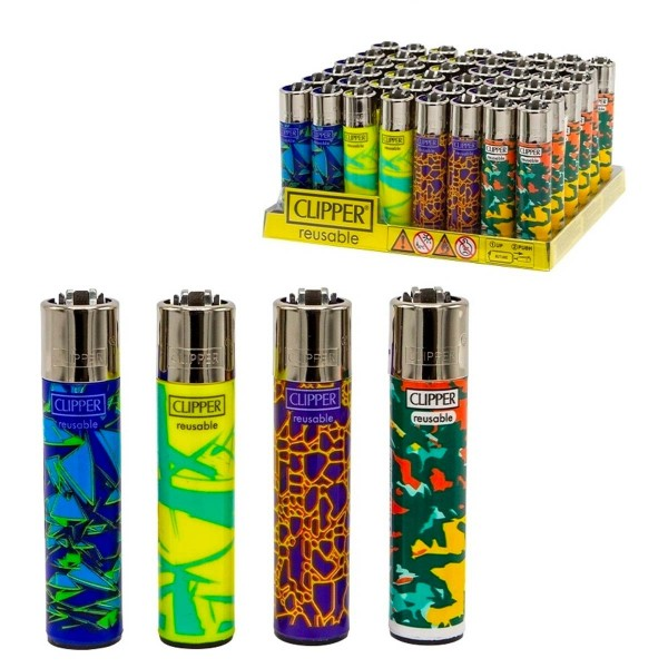 Clipper | Abstract Pattern refillable lighters with 4 different designs - 48pcs in display