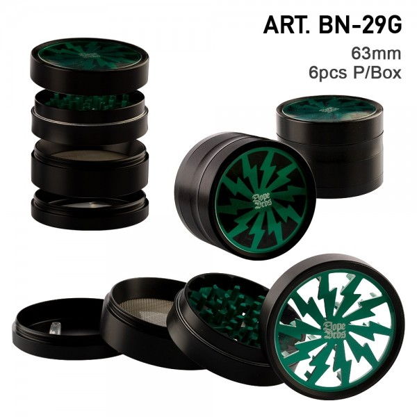 Dope Bros   Grinder Green lightning- 4part- Ø:63mm-6pcs/box