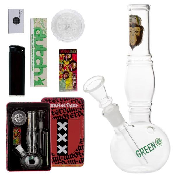 Amsterdam | Greenline Bong giftset with 1 x Bong - 1 x Grinder - 1 x lighter - 5 x screen - 1 x KS R