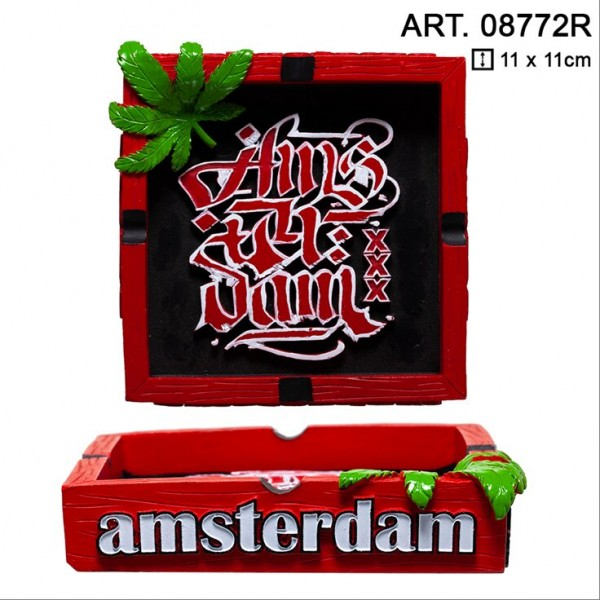Amsterdam | Clay Ashtray with Amsterdam Logo L: 11cm and W: 11cm