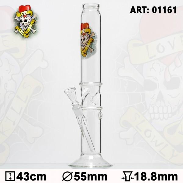 Tattoo | Glass Bong - H:43cm - Ø:55mm - Socket:18.8mm - 14pcs in master carton