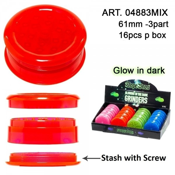 Dope Bros Grinder- 3 parts - Ø:61mm - Glows in the dark - 16pcs/box - mix of colors