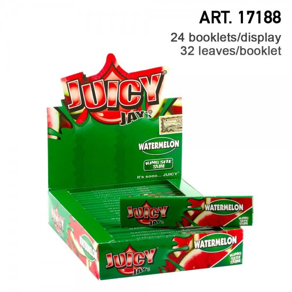 Juicy Jay's   Watermelon flavored King Size Slim rolling papers - 24pcs in a display